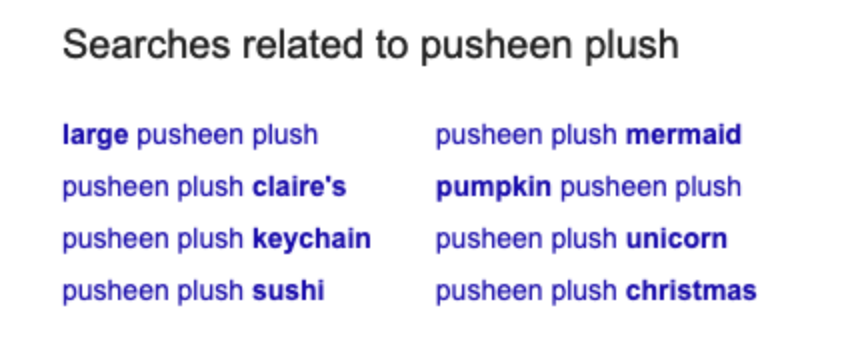 Related queries in Google query results for Pusheen Plush
