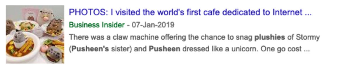 Google news search results for pusheen plush